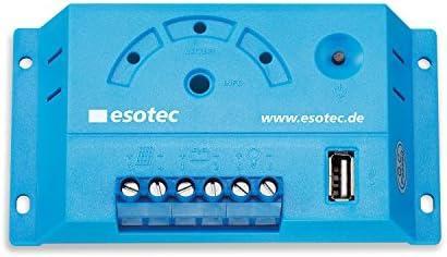 10A Solar Laderegler mit LED Anzeige und USB für 12V Solar Inselsysteme, normaler Modus und zusätzlicher D2D Modus für Außenbeleuchtung, Solarregler Controller esotec 140000