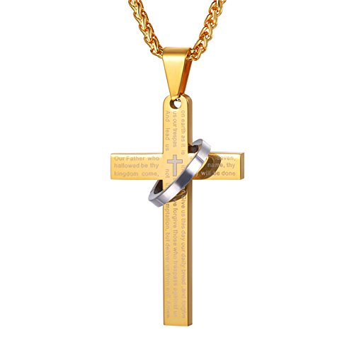 18k Gold Pendant Necklace - U7 18K Gold Plated English Lords Prayer Cross Halo Pendant Necklace