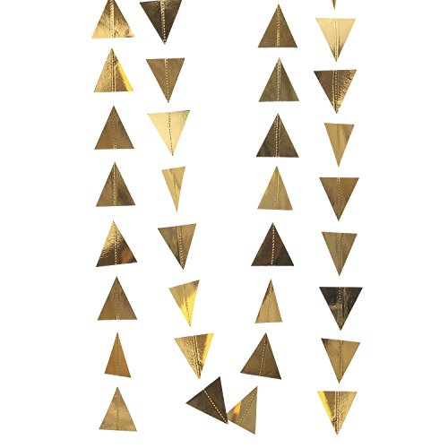 Ling's moment Gold Triangle Bunting Garland Geometric Banner Gilded Triangle Garland, Tribal Trend for Nursery Bridal Shower, Birthday Garland, 2-Sided Gold Metallic Cardstock,10 Feet -
