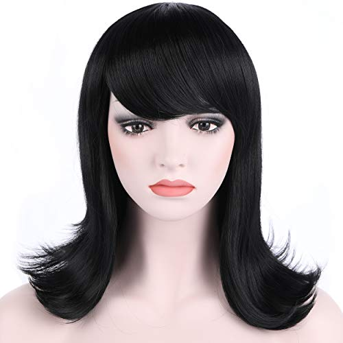 OneDor Women's Short Black Straight Hair 50s Cosplay Flip Wigs with Flat Bangs (1 - Black)