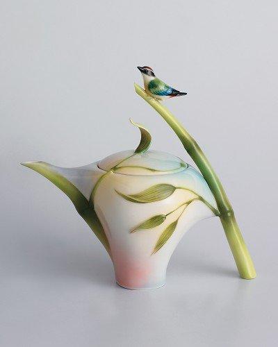 Franz Porcelain Bamboo Song Bird teapot Franz Fine Porcelain