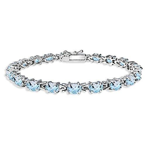 (Sterling Silver Polished Blue Topaz 6x4mm Oval-cut Link Tennis Bracelet)