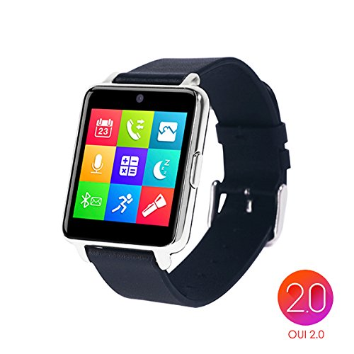 OUMAX?Bluetooth Smart Watch S6 Plus for iPhone 6, 6 Plus, 6S and Samsung S6, Note 5 (Full Function Support for iOS 9.0 and Android 4.3 or above)-Silver/IPS Panel/Premium Leather Strap