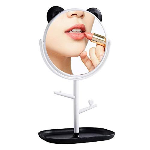 Rocutus Tabletop Makeup Mirror,large rotating tray make-up mirror Princess mirror Magnifying Makeup Mirror with Jewelry Hooks (White)