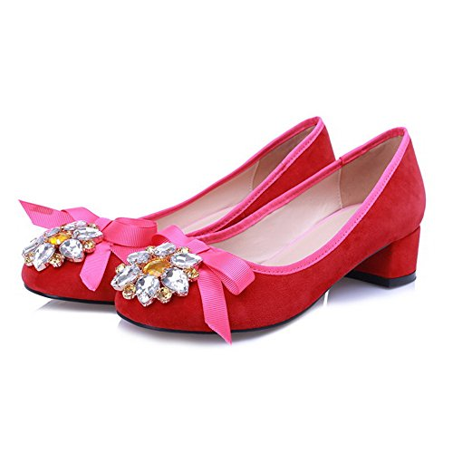 AllhqFashion Womens Closed Round Toe Sheepskin Kitten Heels Solid Pumps with Coloured?Diamond Red yABssyyU9
