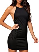 Clothink Women Black Halter Strap Cross Back Plain Sexy Beach Bodycon Dress