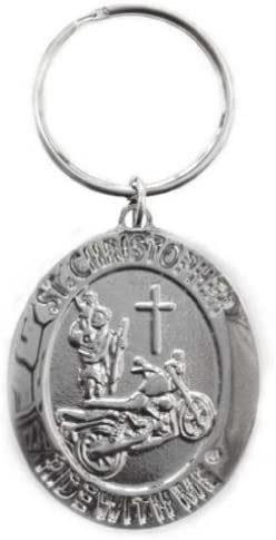 St. Christopher RideMe Motorcycle Medal Keychain BH010
