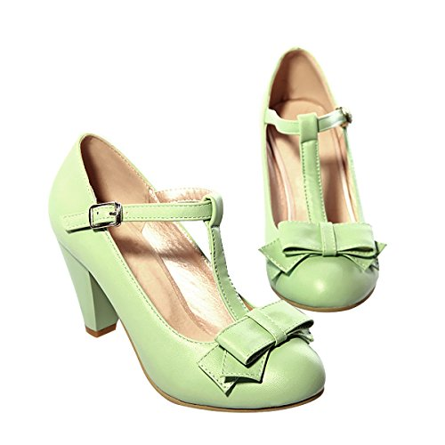 Wedding Leather Jane Dress Mary Buckled Bowtie Womens PU Shoes Low Pumps Inornever Green Platform Heel wB0nqvBX