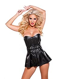 Allure Lingerie womens Faux Leather Mini-dress With Belt