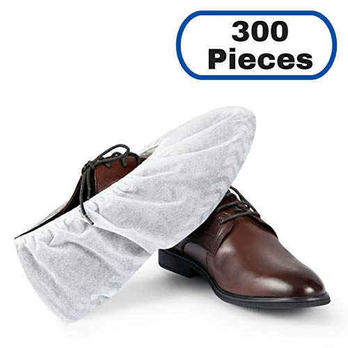 MIFFLIN Disposable Shoe Covers (White, 300 Pieces) Non-Slip Water Resistant Durable Boot Covers Shoe Protector Surgical Booties One Size Fits ()