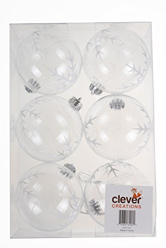 Clever Creations Clear Snowflake Shatterproof Christmas Tree Ornaments Large 80mm Clear Variety Pack Christmas Decor | 6 Piece Set Perfect for Christmas Decorations