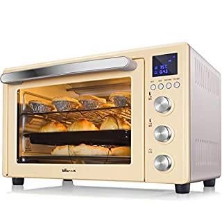 32L Smart Oven, 1600W Convection Toaster Roaster Oven With Pot Holders, Countertop Oven Stainless Steel 6-Slice Bread, 12-Inch Pizza, Yellow, Sliver