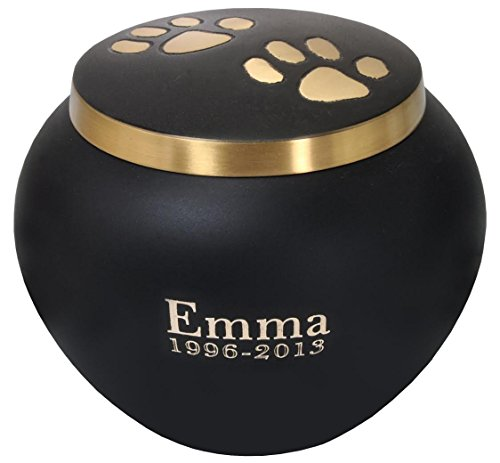 Memorial Gallery Pet Cremation Brass Pet Urn with Gold Paw Prints