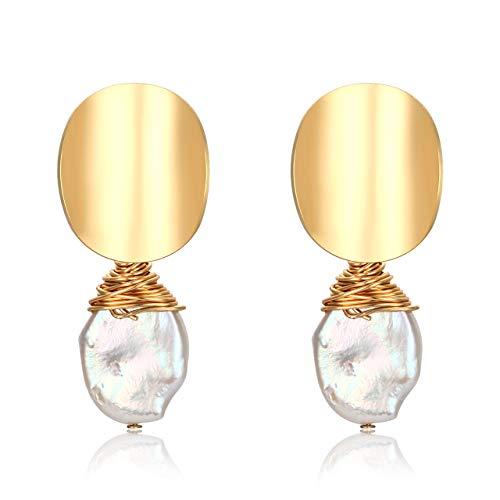 rls Drop Earrings Wire Wrapped Earrings Pearl Stud Earrings (Gold#3) ()