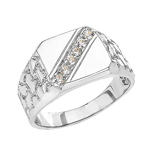- Men's Fine Sterling Silver Signet Diamond Nugget Ring (Size 13.75)
