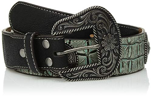 Nocona Belt Co. Women's Turquoise Crocodile Silver Concho Taper Belt, Small ()