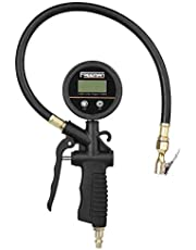 Freeman Digital Tyre Inflator with Pressure Gauge Accurate Tyre Gauge with 1/4'' NPT Industrisl Brass Fitting Rubber Swivel Hose for Car Motorcycle Bicycle