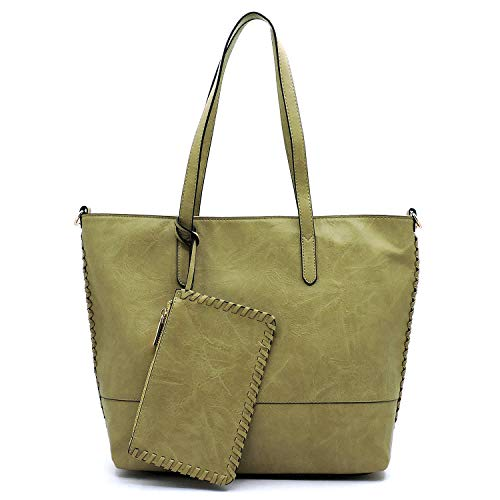 Le Miel Distressed Effect Tote W/Whipstitch Accents Strap + Wristlet
