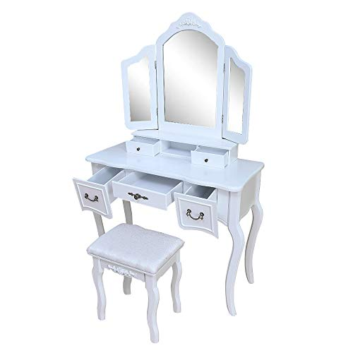 Mojogy Vanity Set, Tri-Folding Mirror, 5 Drawers, MDF Dressing Table with Cushioned Stool Easy Assembly, Gift for Girls White ()