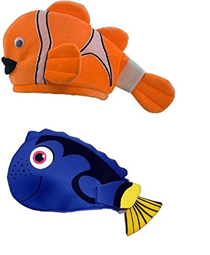 Dory Halloween Costume For Adults (Blue And Orange Tropical Clown Fish Hat Costume Accessory Adult Child Set)