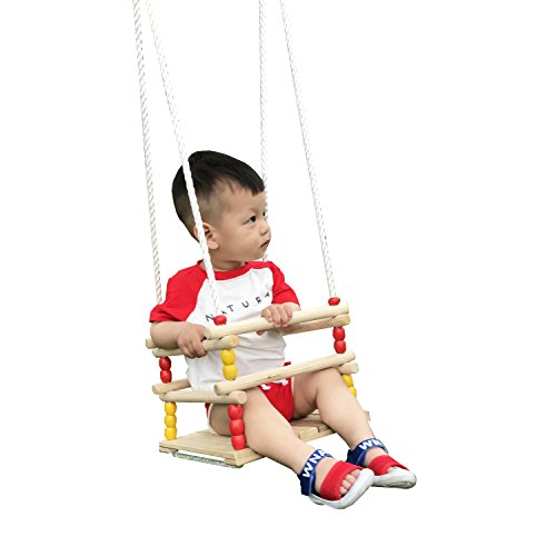 HappyPie Infant to Toddler Wooden Hanging Swing Outdoor Safety Hammock seat