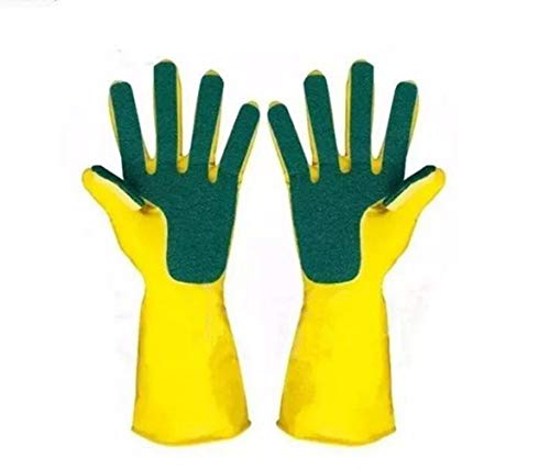 ZSJZHB Latex Five-Finger Scouring Gloves, Compound Sponge Cleaning Dishwashing Gloves, Scouring Gloves, Household Kitchen Cleaning, Dishwashing, Strong Work, Heavy Duty Small Rubber Tableware Gloves