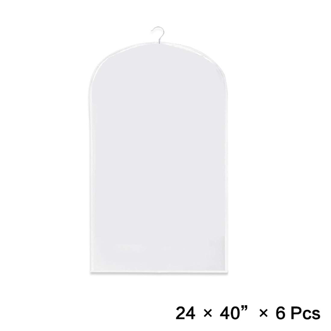 Pack of 6 Clothes Garment Bag, Light Weight,Dust-proof,Full Clear Zipper Suit Bag,Clothes Storage Suits Dress Dance or Travel(6 pack x 40'')