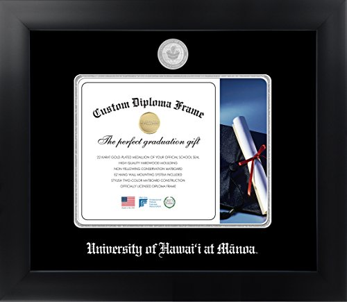 University of Hawai'i at Manoa 8 x 10 Matte Black Finish Infinity Diploma Frame by Celebration Frames