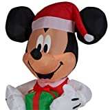 Santa Mickey Mouse Inflatable LED 5ft with Present