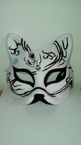 Japanese Style Painted Fox Mask Black