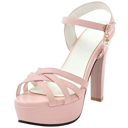 TAOFFEN Women Summer Ankle Strap Sandal High Heel Pink EM0CUy