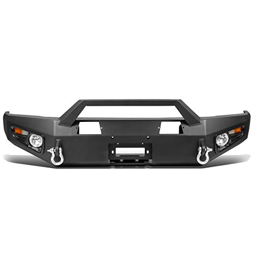DNA Motoring 4X4-T142 Front Bumper Protector Guard + Fog Light [for 14-17 - Winch Toyota Bumper