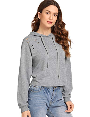 MAKEMECHIC Women's Long Sleeve Ripped Sweatshirt Crop Top Hoodies Grey L - Top Hooded