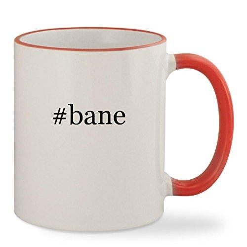#bane - 11oz Hashtag Colored Rim & Handle Sturdy Ceramic Coffee Cup Mug, Red