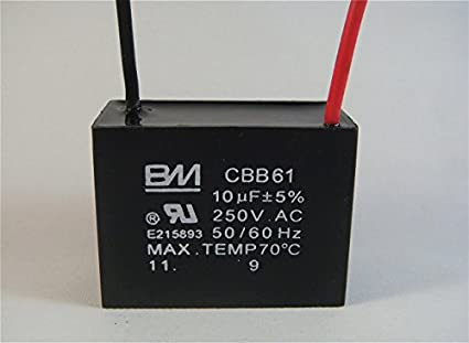 41I6u6ANvRL._SX425_ fan capacitor cbb61 10uf 250v 2 wire amazon com industrial CBB61 Capacitor Replacement at arjmand.co