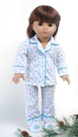 "Christmas Snow Pajamas & Slippers ~ Fits 18"" American Girl Dolls"