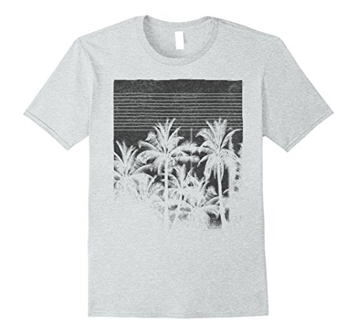 Mens Palm Tree Silhouette Faded Grunge Vintage Graphic T-Shirt Small Heather - Palm Silhouette