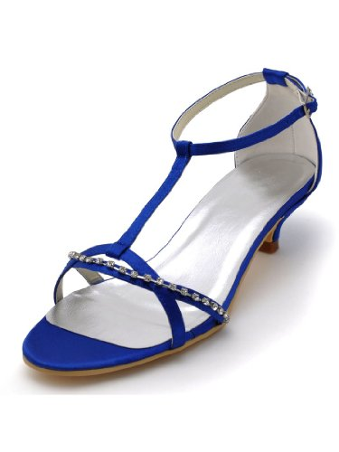 Satin Womens T Prom Strap Wedding Heel Toe Buckle Elegantpark Rhinestones Sandals Low Open Dress Blue Pumps v7nqFwwd