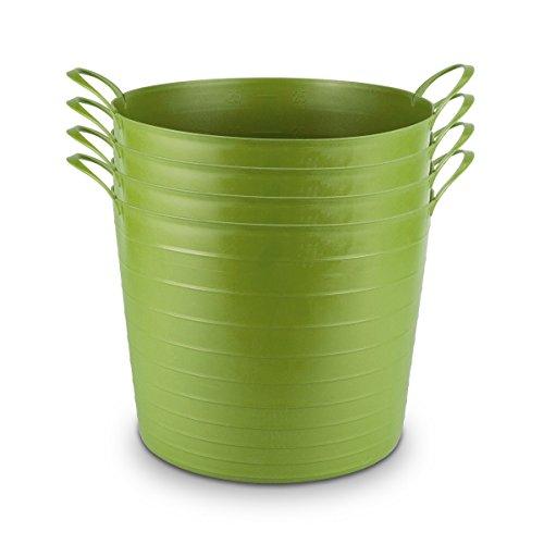 Mainstays Multi-Purpose 27-liter Flexible Tub Tote Green Set of 4 (Plastic Set Tub)