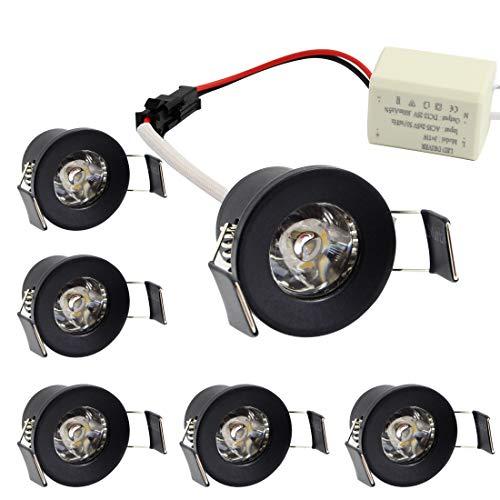(LEDIARY 1 inch Black Mini Recessed LED Light with LED Driver,1.5W 110V Warm White 3000K,100 Lumens,Ceiling Lights 6 Pack)