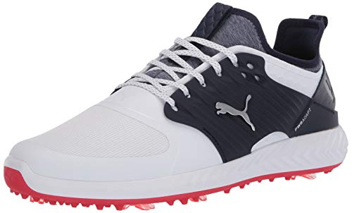 Puma Golf Men's Ignite Pwradapt Caged Golf Shoe, Puma White-Puma Silver-Peacoat, 12.5 M US best to buy