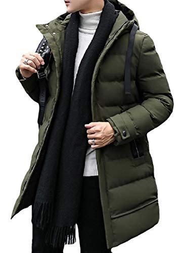 Coat Long Mens Zip Mogogo Size Down Green Thickened Plus Mid Hooded Pocket SBCq4U