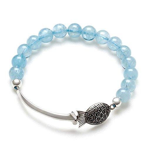 bracelet aigue marine naturelle/ marque argent Thai game fish-bonne chance bracelets