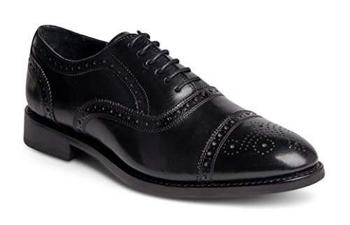 Anthony Veer Men's Ford Wingtip Brogue Lace-up Full Grain Leather Dress Formal Wedding Office Shoes Goodyear Welt (US 10 EE, Black Full Grain Calfskin - Leather Sole) ()