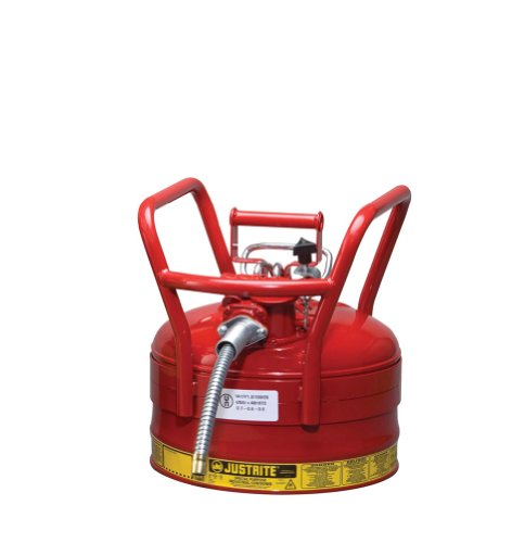 Justrite AccuFlow 7325120 Type II Galvanized Steel Transport and Dispensing Flammable Safety Can with 5/8'' Flexible Spout, 2.5 Gallon Capacity, Red by Justrite