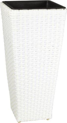 (Weles GMBH Gartenfreude 4000-1000-208 28 28 xcm Resin Wicker Planter Indoor and Outdoor Use Watertight Plastic Insert - White Finish )