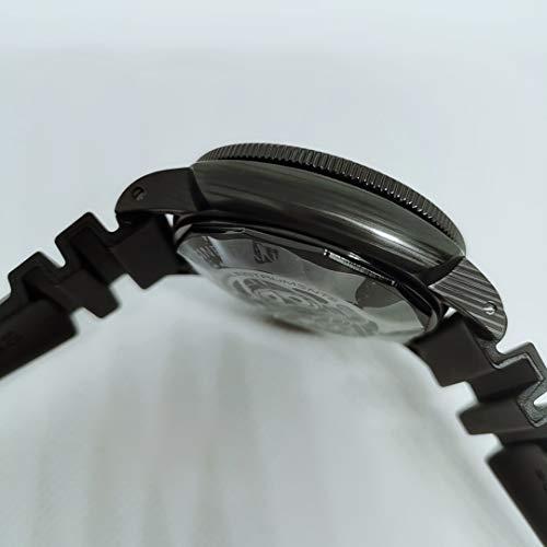 JFfactory män automatiska mekaniska klockor rostfritt stål karbotech infattning lysande klocka svart gummi 47 mm