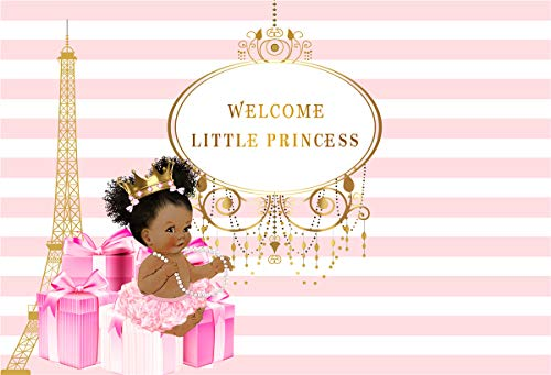 Royal Little Princess Pink Bow Gifts Baby Shower Photography Background Golden Crown Eiffel Tower White And Pink Backdrop Girl Shower Party