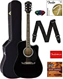 Fender FA-125CE Dreadnought Cutaway Acoustic-Electric Guitar - Black Bundle with Hard Case