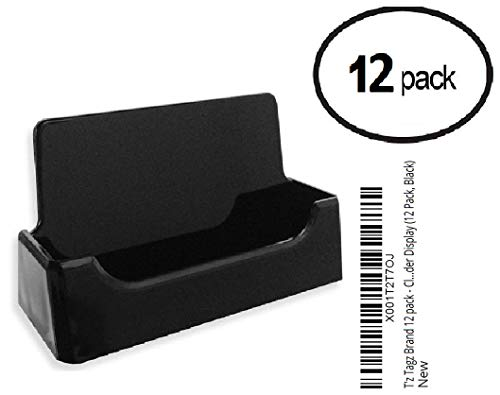 Black Plastic Holder - T'z Tagz Brand 12 Pack - Black Plastic Business Card Holder Display (12 Pack, Black)